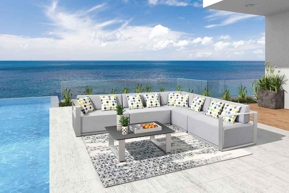 Pool Furniture Upholstery Outside Patio Sofa with Coffee Table - Oslo