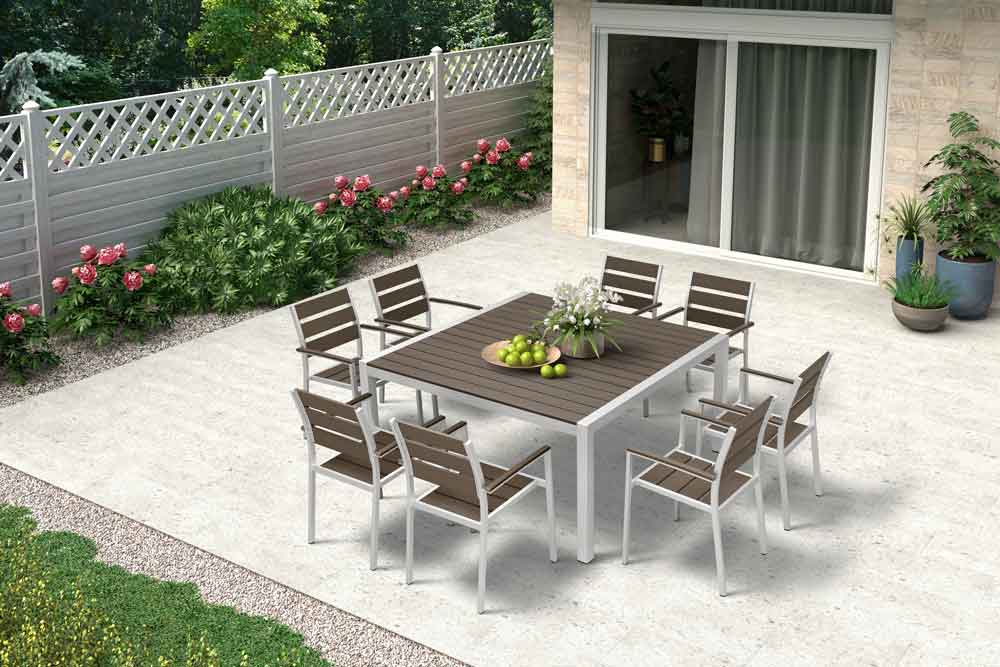 Patio Furniture Square Outdoor Dining Table With Chairs For Resort - Venice