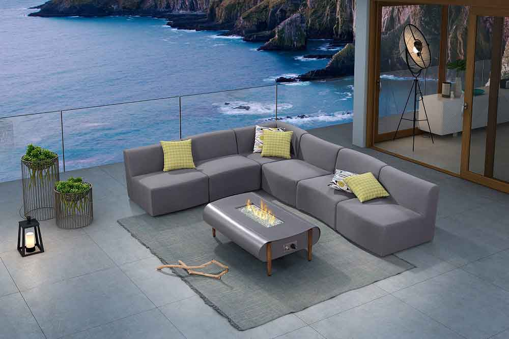 Luxury Large Garden Corner Sofa With Modern Fire Pit For Designer - Palma