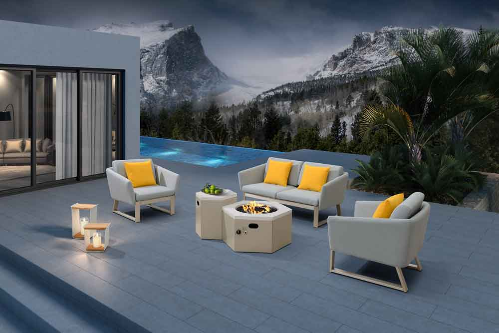 Modern Furniture Garden Outdoor Sofa With Propane Patio Fire Pit - Blaise