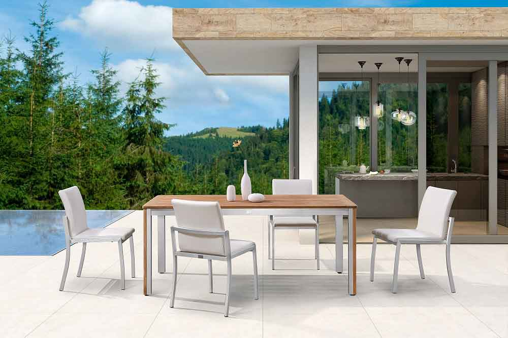 Teak Outdoor Dining Table Sets For 6 With Leather Chairs - Perth