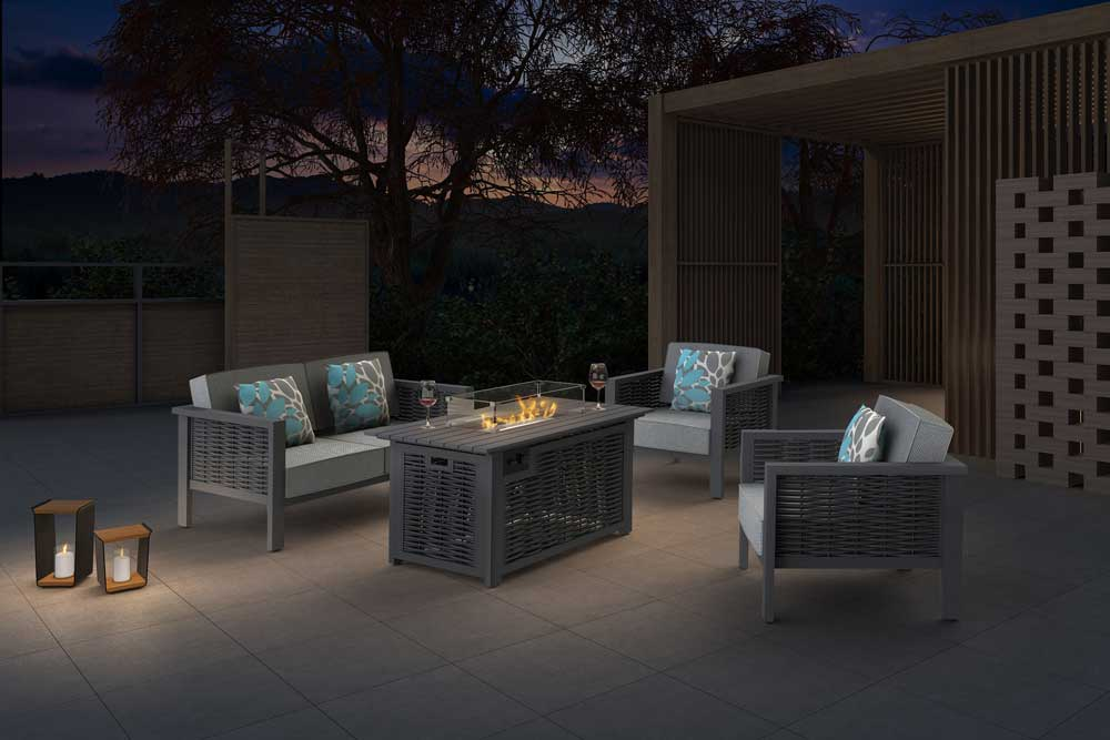 Lohas Style Grey Patio Wicker Sofa With Propane Fire Pit Table - Dallas