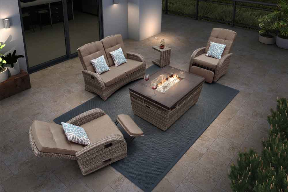 Hospitality Furniture Outdoor Tabletop Propane Fire Pit With Rattan Couch - Jane