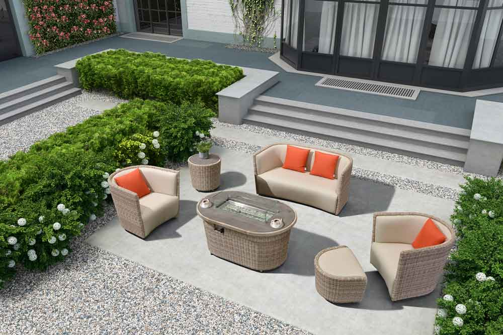 Event Furniture Garden Fire Table With 3s Wicker Sofa For Resort - Oxford
