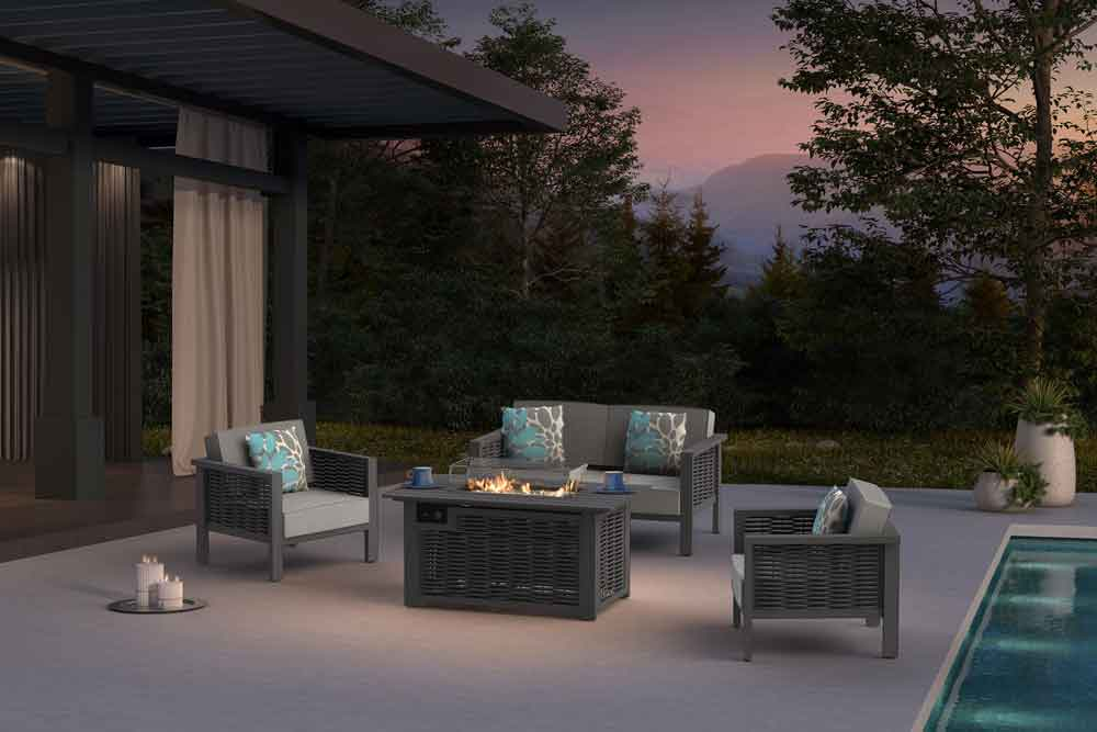 On-line Outdoor Furniture Rectangle Gas Fire Pit With Metal Patio Couch - Dallas