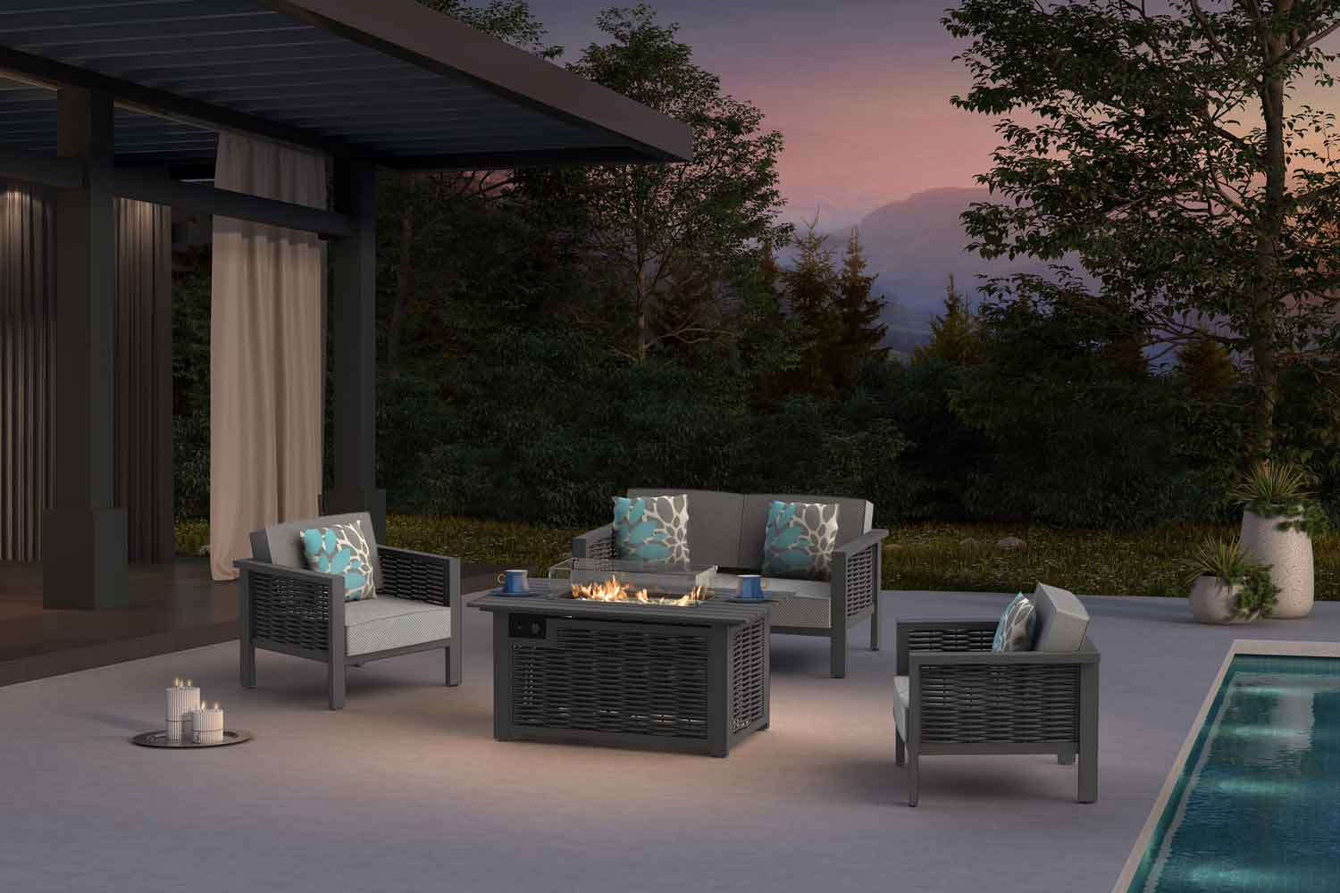 Outdoor propane tabletop fireplace
