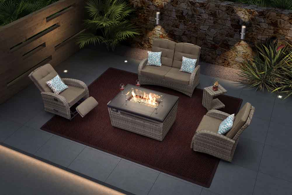 Villa Furniture Wicker Patio Set With Gas Fire Pit For Home - Jane