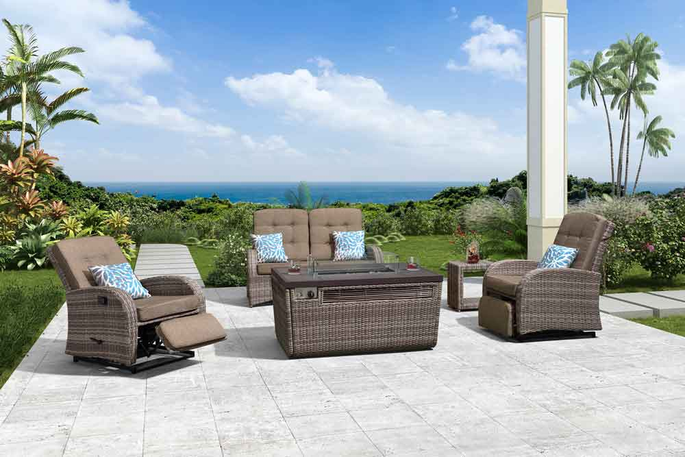 Leisure Furniture Fire Pit In Garden With Outdoor Rattan Armchair - Jane