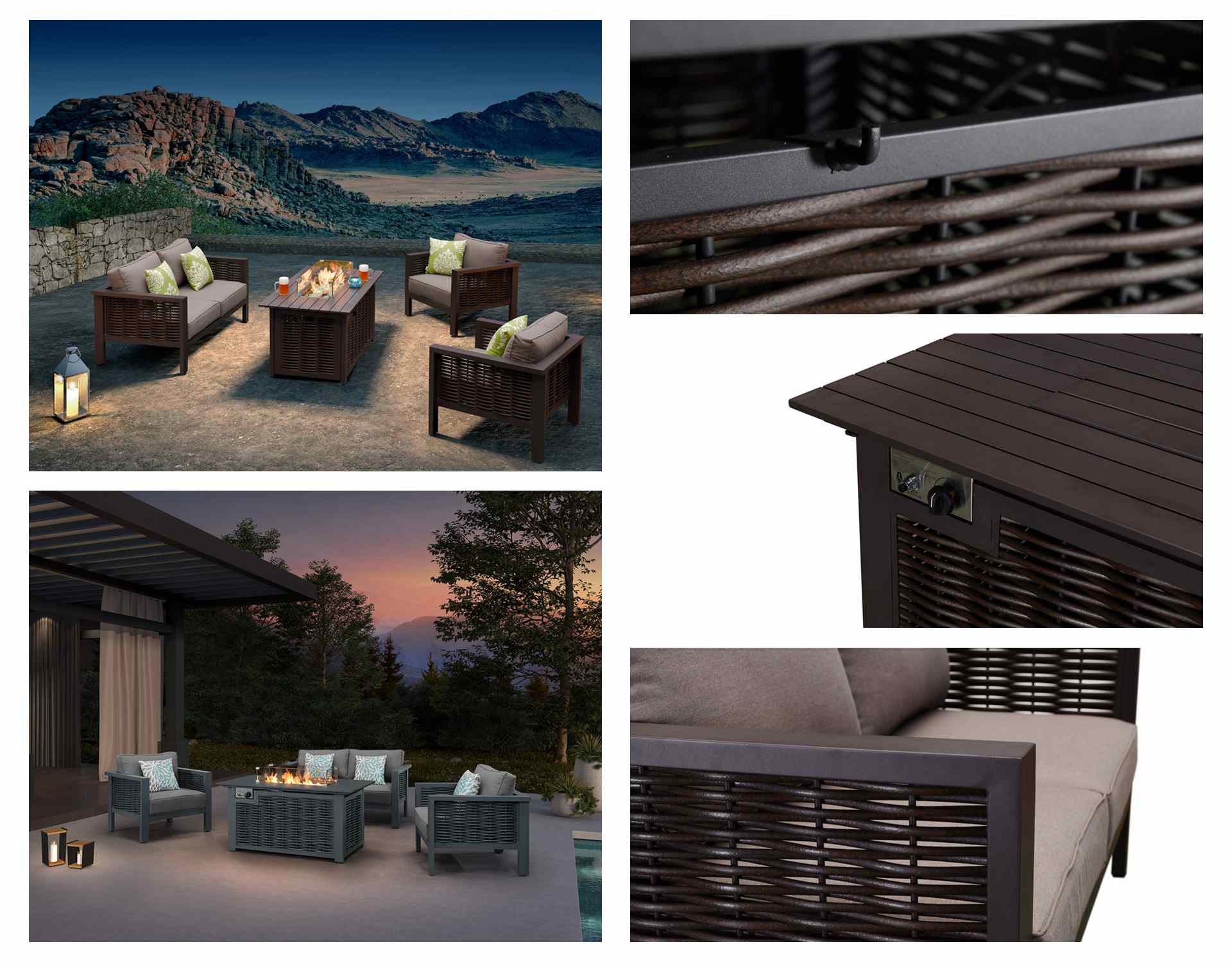 Patio tables with propane fire pits